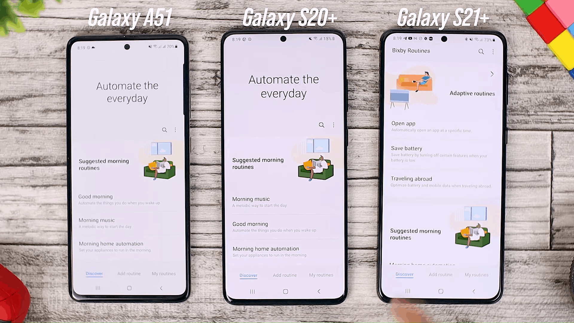 Bixby Routines - One UI 3.0 features of Samsung Galaxy A51 and its comparison with the Galaxy S20+ and One UI 3.1 on the Galaxy S21+
