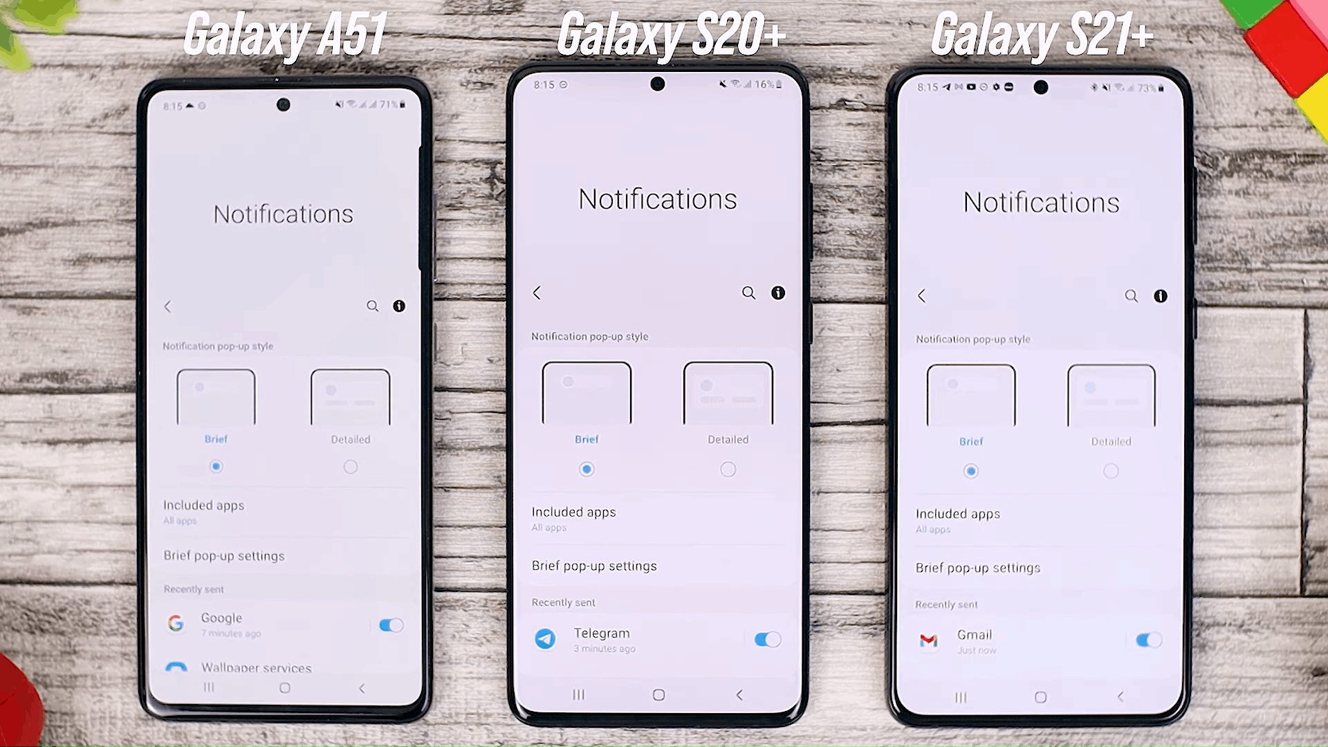 Brief Notification Option - One UI 3.0 features of Samsung Galaxy A51 and its comparison with the Galaxy S20+ and One UI 3.1 on the Galaxy S21+