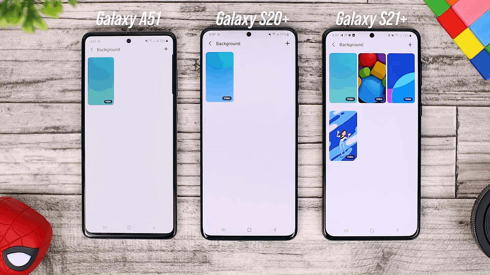 Call Background Option - One UI 3.0 features of Samsung Galaxy A51 and its comparison with the Galaxy S20+ and One UI 3.1 on the Galaxy S21+