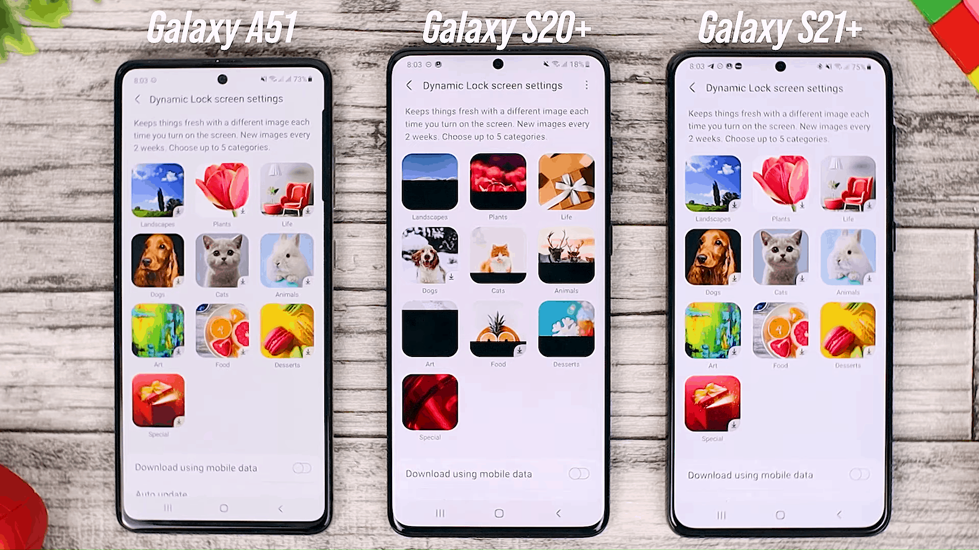 Dynamic Wallpaper Category - One UI 3.0 features of Samsung Galaxy A51 and its comparison with the Galaxy S20+ and One UI 3.1 on the Galaxy S21+