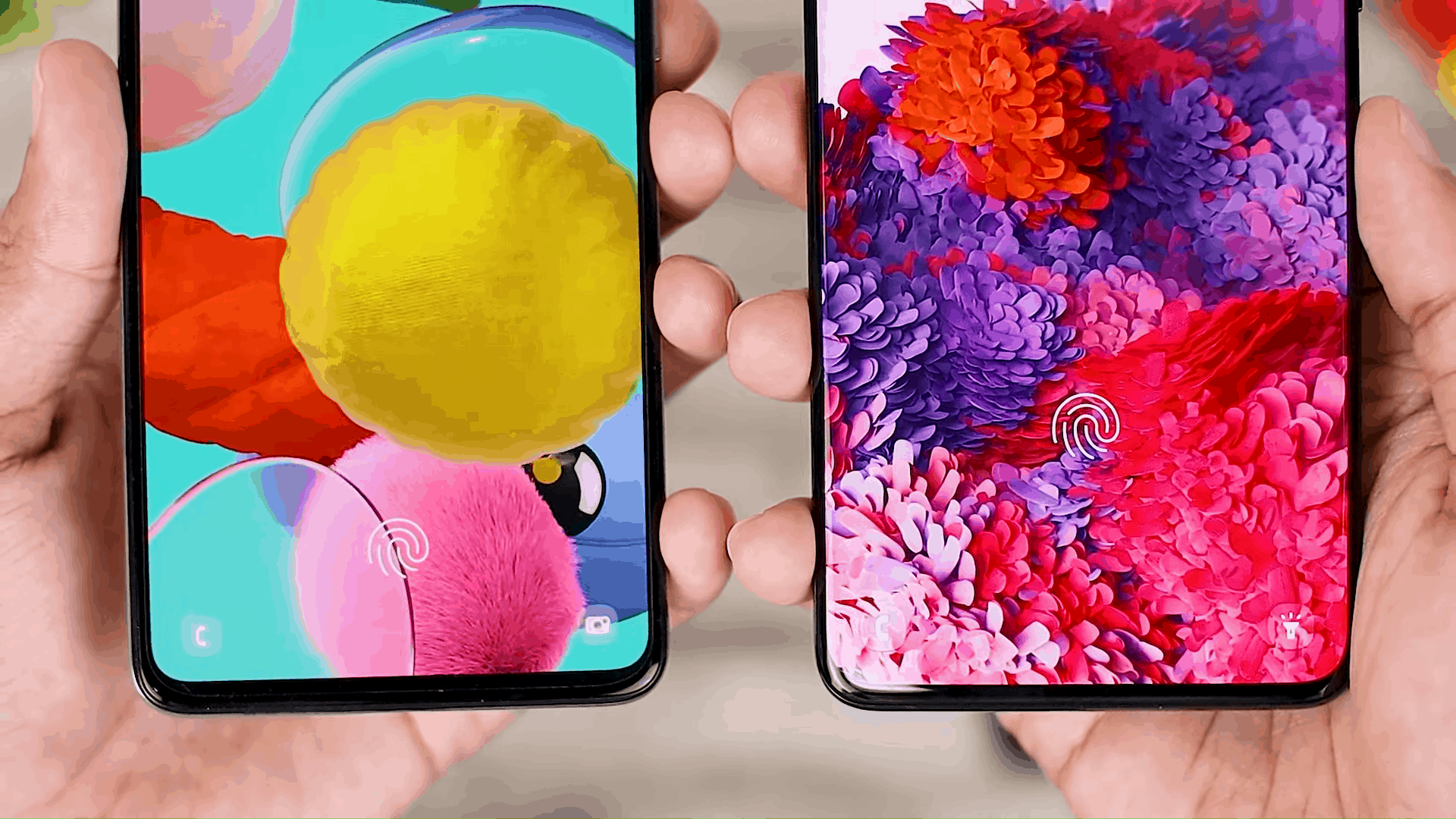 Fingerprint Icon - One UI 3.0 features of Samsung Galaxy A51 and its comparison with the Galaxy S20+ and One UI 3.1 on the Galaxy S21+