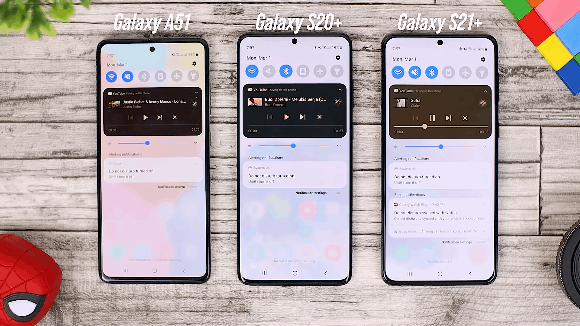 New Feature in Media Control - One UI 3.0 features of Samsung Galaxy A51 and its comparison with the Galaxy S20+ and One UI 3.1 on the Galaxy S21+