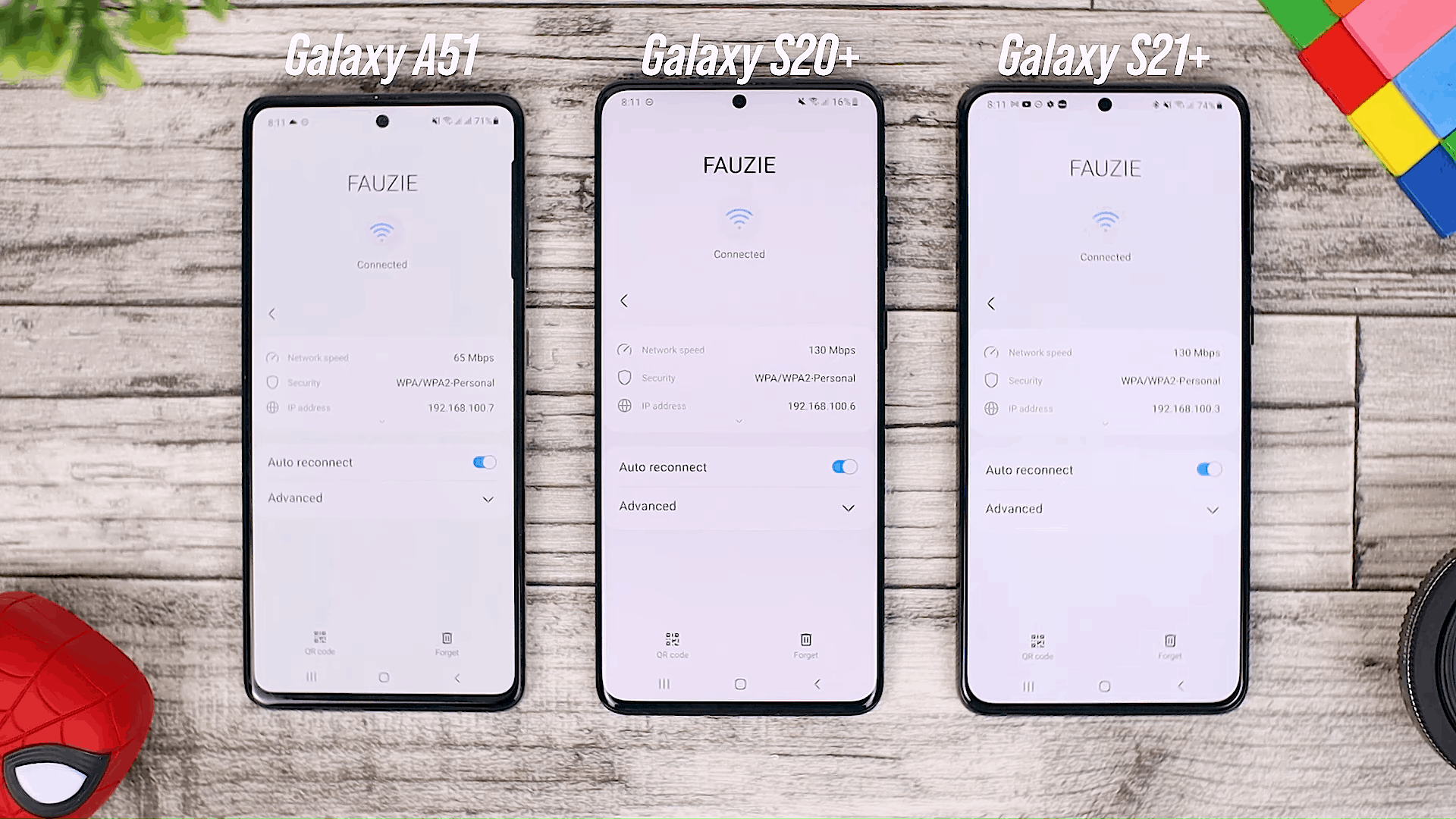 New Wi-Fi View - One UI 3.0 features of Samsung Galaxy A51 and its comparison with the Galaxy S20+ and One UI 3.1 on the Galaxy S21+
