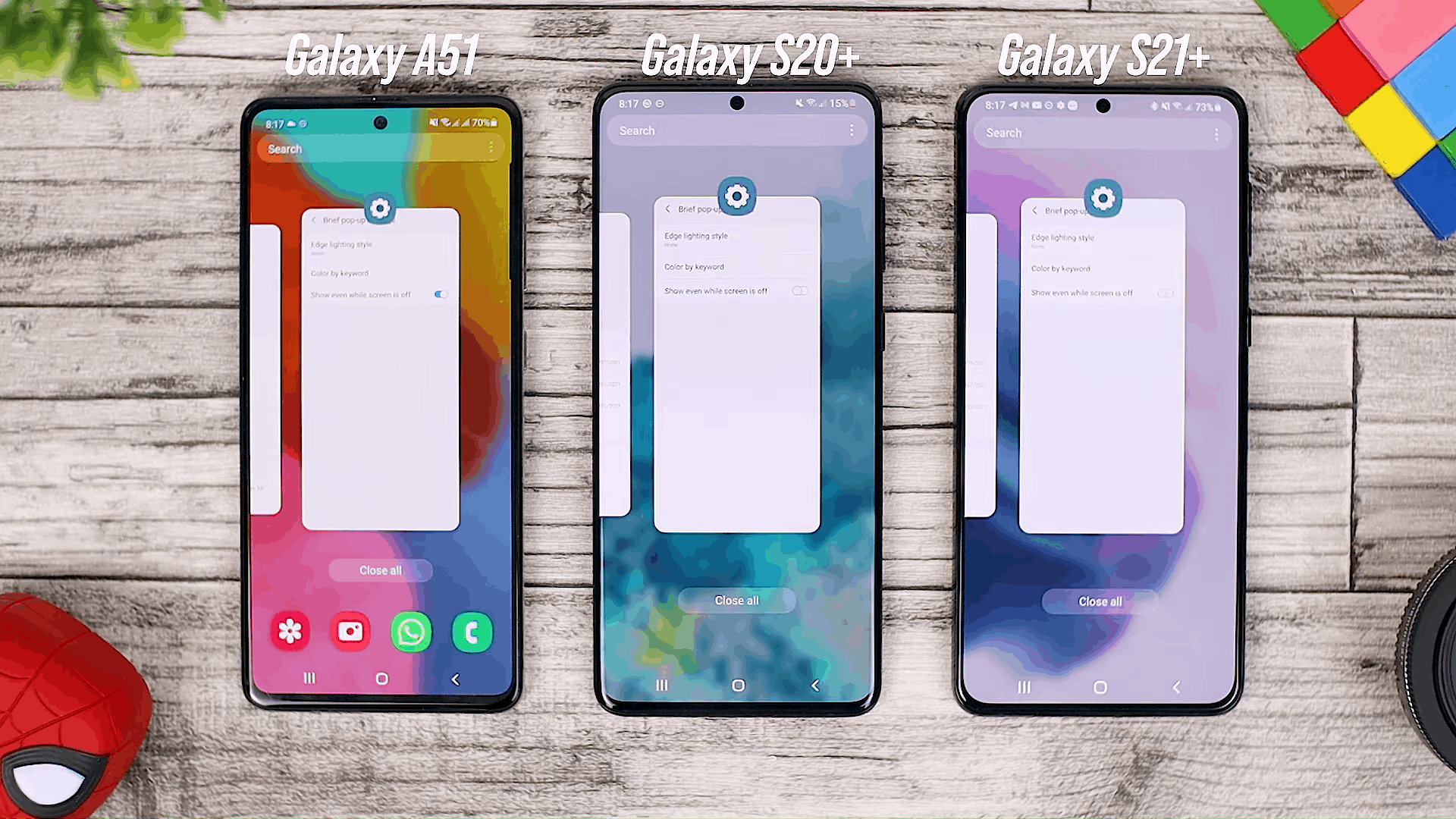 Recent Apps - One UI 3.0 features of Samsung Galaxy A51 and its comparison with the Galaxy S20+ and One UI 3.1 on the Galaxy S21+