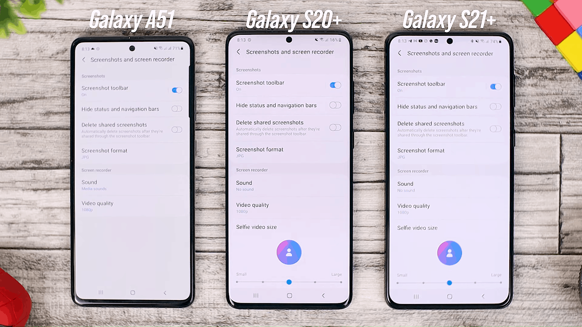 Screen Recorder Option - One UI 3.0 features of Samsung Galaxy A51 and its comparison with the Galaxy S20+ and One UI 3.1 on the Galaxy S21+