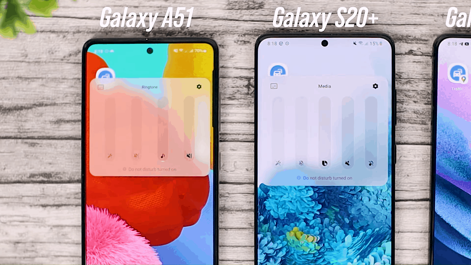Volume Position - One UI 3.0 features of Samsung Galaxy A51 and its comparison with the Galaxy S20+ and One UI 3.1 on the Galaxy S21+
