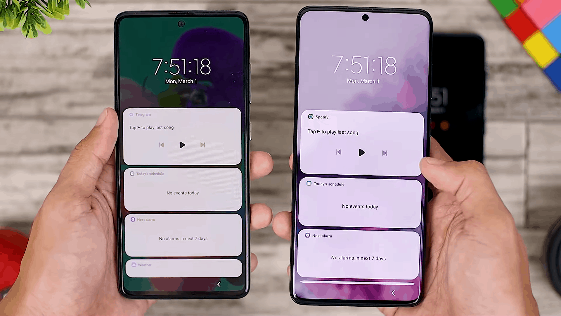 Widget on Lockscreen - One UI 3.0 features of Samsung Galaxy A51 and its comparison with the Galaxy S20+ and One UI 3.1 on the Galaxy S21+